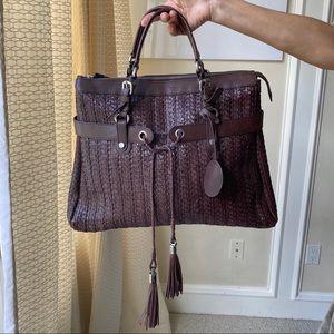 Escada leather woven hand bag